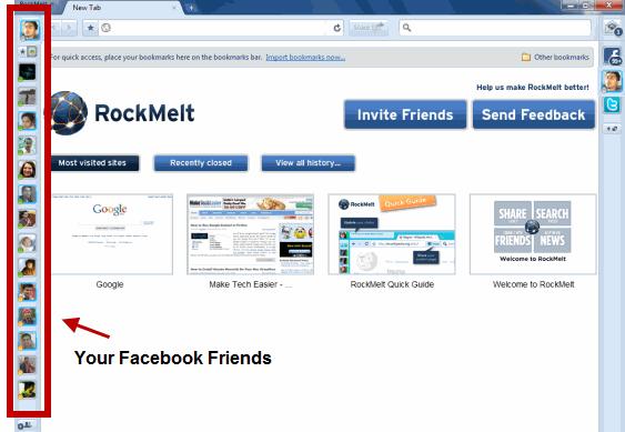 Rockmelt Facebook friends panel