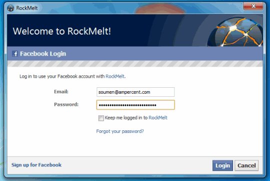 Rockmelt Login - Connect With your Facebook account