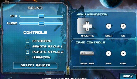 Sun Blast Wii remote settings