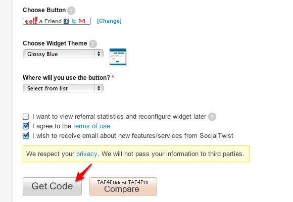 TAF Signup - Get Code
