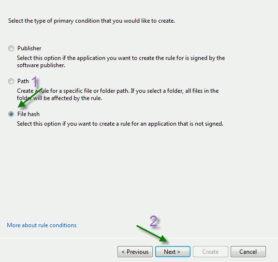 applocker-File-hash-condition
