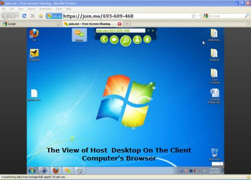 Remote Desktop View Of Host Desktop On Client's Computer