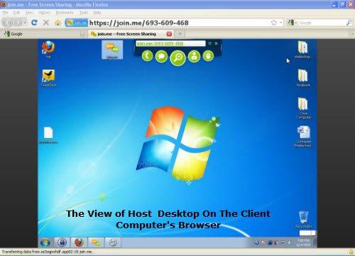 Remote Desktop View Of Host Desktop On Client's Computer