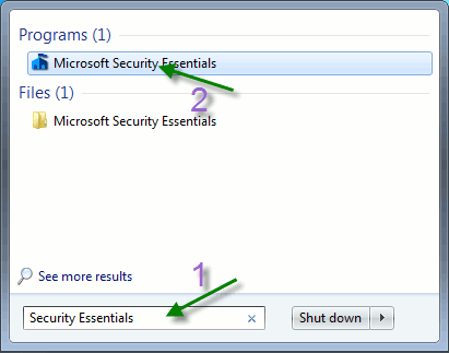 Start Microsoft Security Essentials