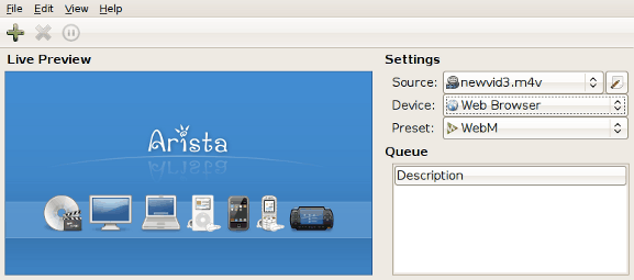 Arista Transcoder screenshot