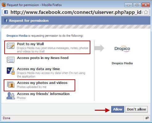 Dropico Grant permissions Facebook account