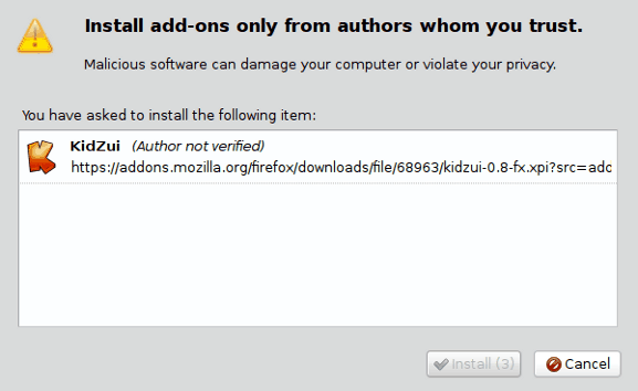 Kidzui Firefox extension installation
