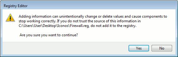win7firewall-Registry Editor Message