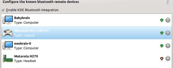 KDE bluetooth device management