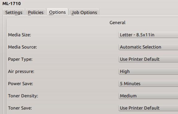 KDE printer settings