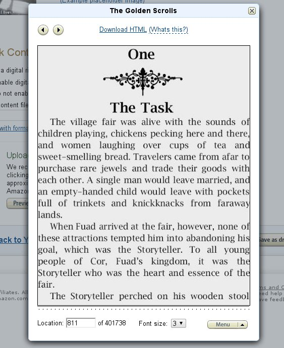 Kindle Direct Publishing preview screenshot