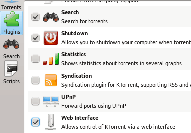 KTorrent plugin settings