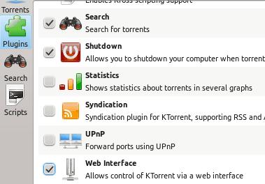 KTorrent plugin settings
