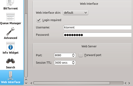 KTorrent Web Interface Settings