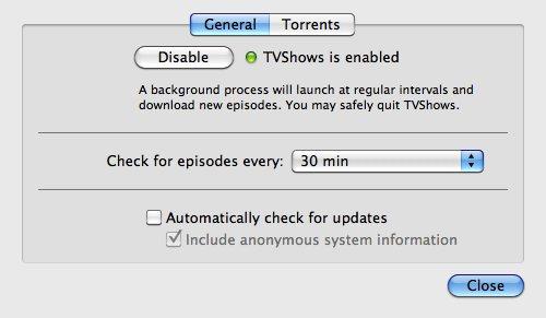 TVShows  preferences general