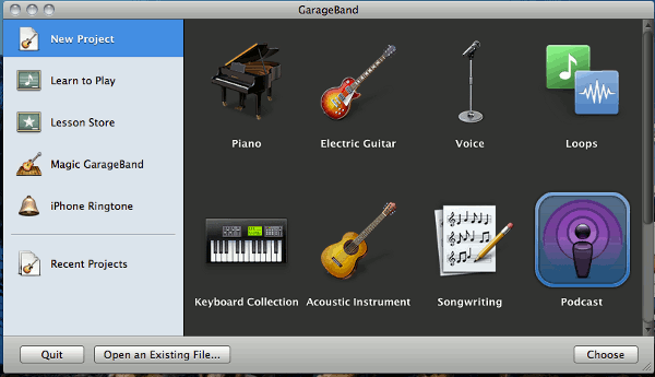 garage-band-start-screen
