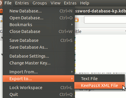 keepassx-export-database
