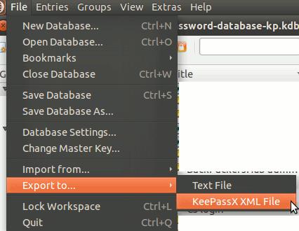 keepassx-export-database