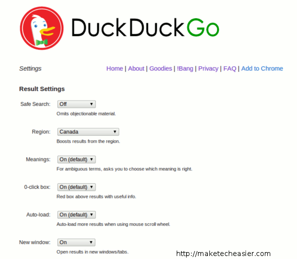 DuckDuckGo settings