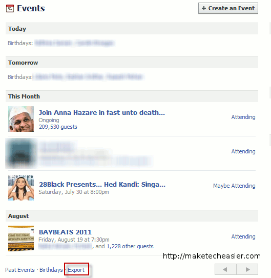"""Events"""" page, you should see all your events listed. On this page ..."""