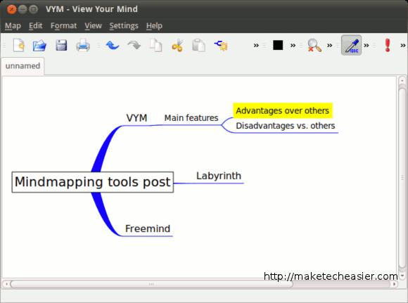 A mindmap in VYM