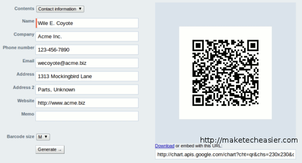 ZXing Project QR code generator