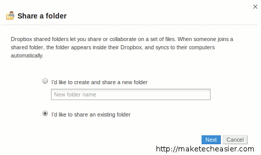 Sharing a folder in Dropbox, step 1