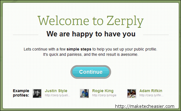 Zerply Welcome Screen  Visually Appealing Resume