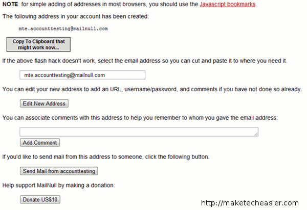 address created - disposable email address