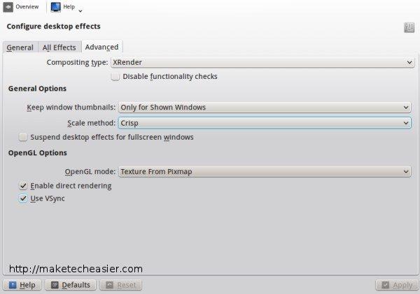 KDE desktop effects advanced settings