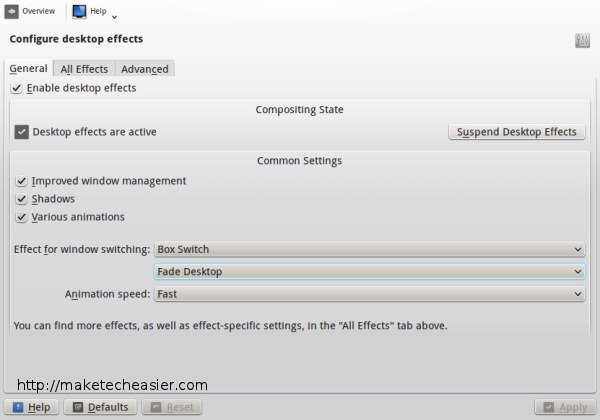 KDE desktop effects general settings