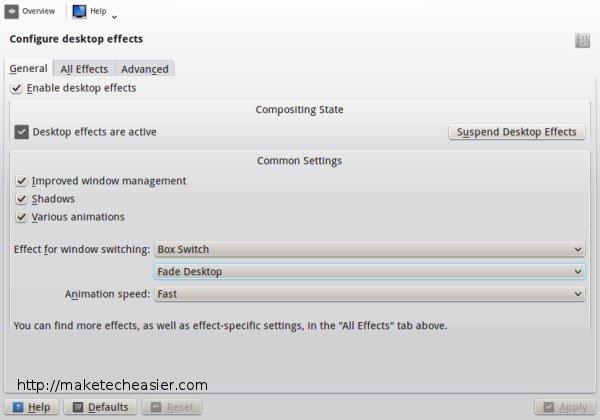 KDE desktop effects general settings