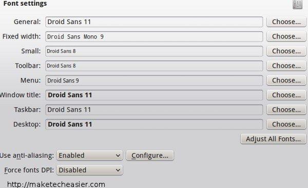 KDE font settings