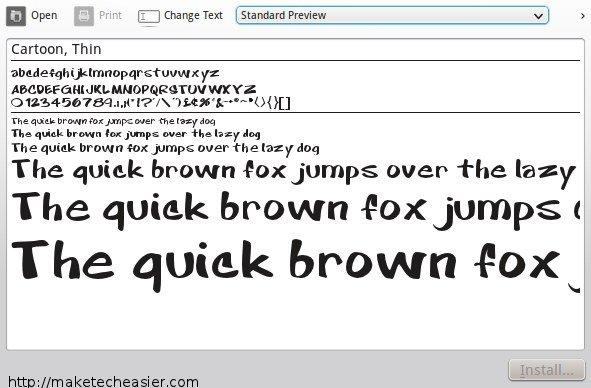 KDE font viewer
