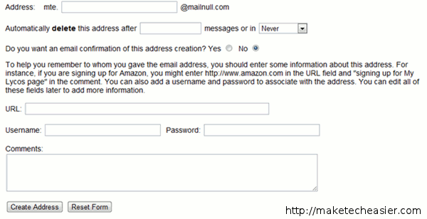 mailnull address setup - disposable email address