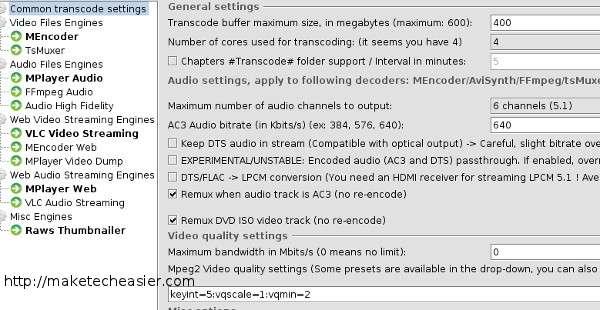 PMS transcoding settings