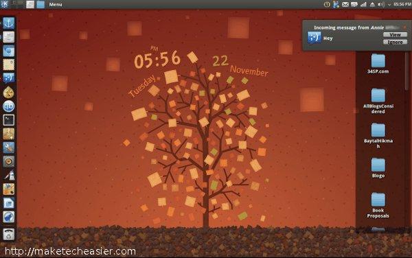 KDE desktop with Ambiance theme