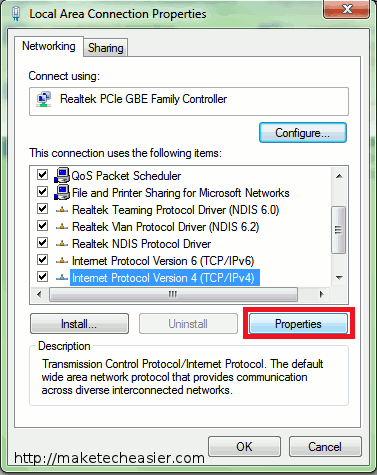 Windows change adaptor setting