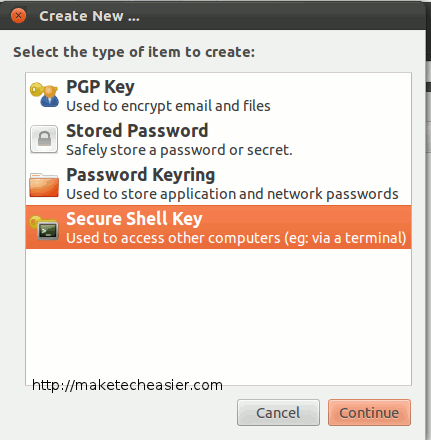 seahorse-select-ssh-key