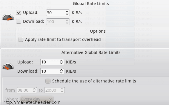 qBittorrent download limits configuration