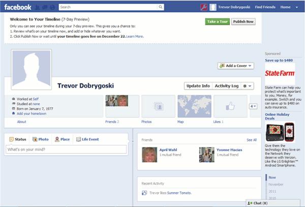 facebook timeline - active