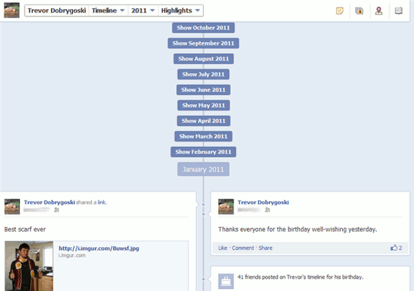 facebook timeline - highlights