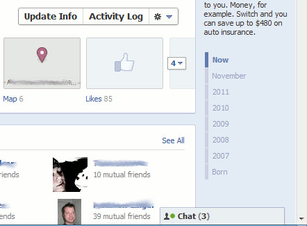 facebook timeline - right sidebar timeline
