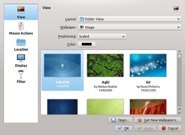Desktop settings for KDE 3-style desktop