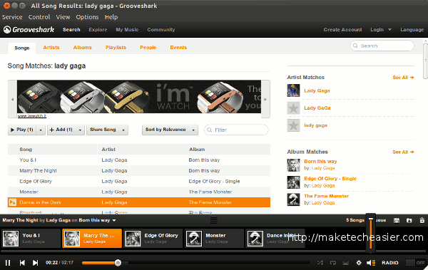 nuvolaplayer-grooveshark-playing