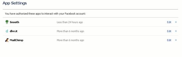 facebook timeline apps - installed apps