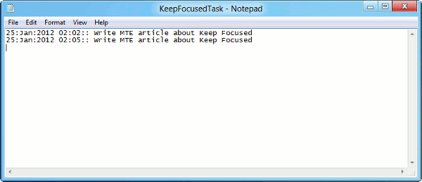 keep focused-log file