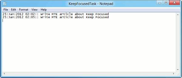 keep focused-log file