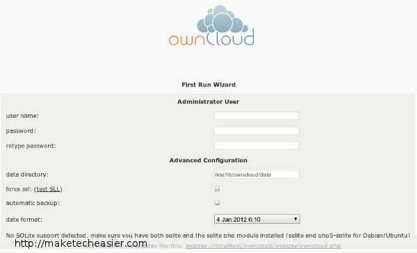 ownCloud First Run Wizard