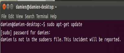 "Fixing ""username is not in the sudoers file. This incident will be reported"" Error In Ubuntu"